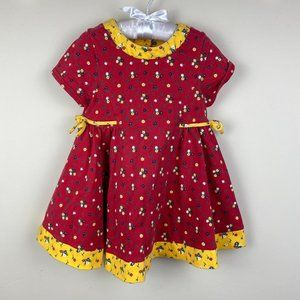 Vintage Gymboree Red Floral Dress Small 2-3 Years